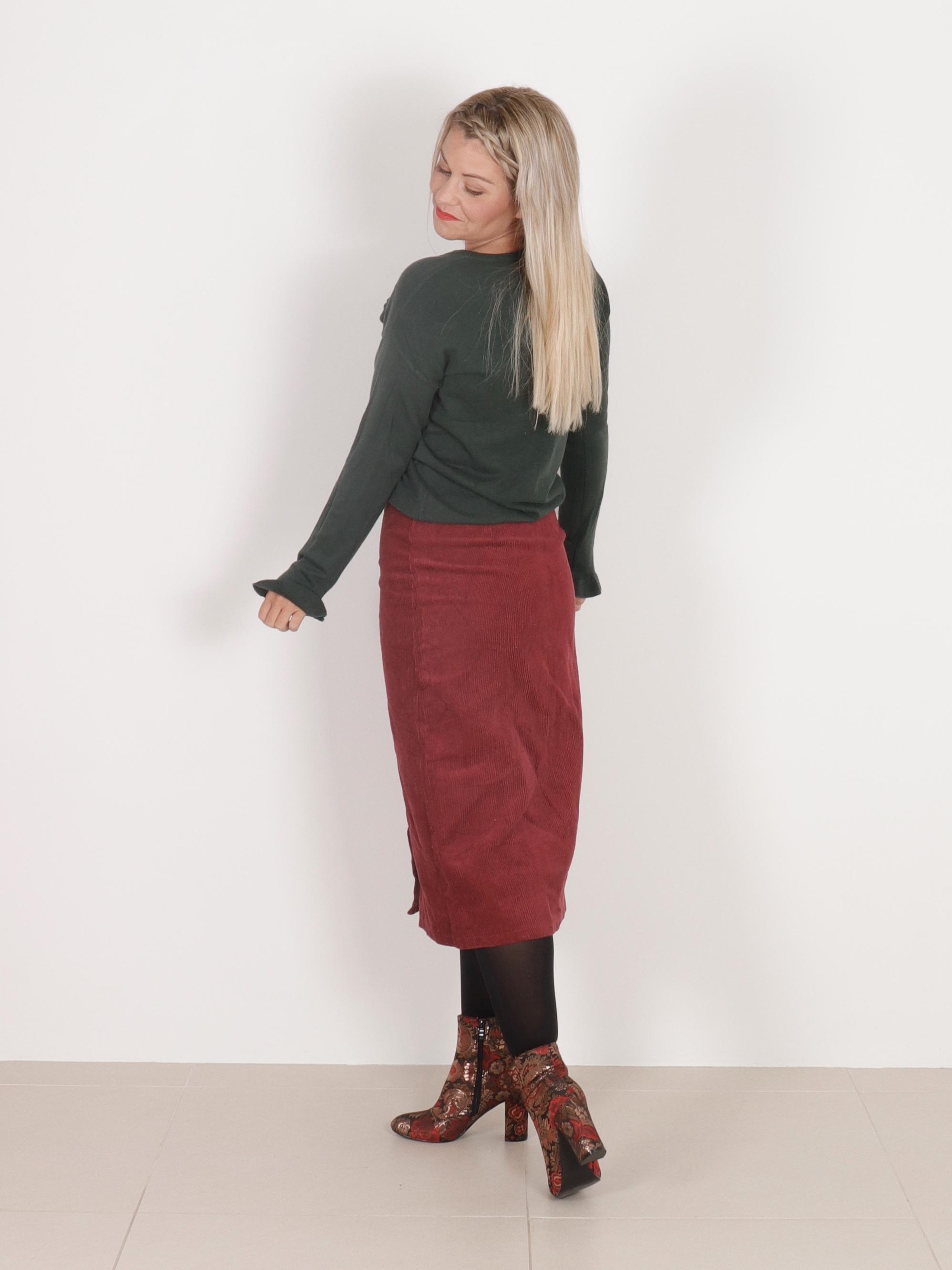 Midi Nederdel Bordeaux Bukser & Nederdele Clothing By Ros